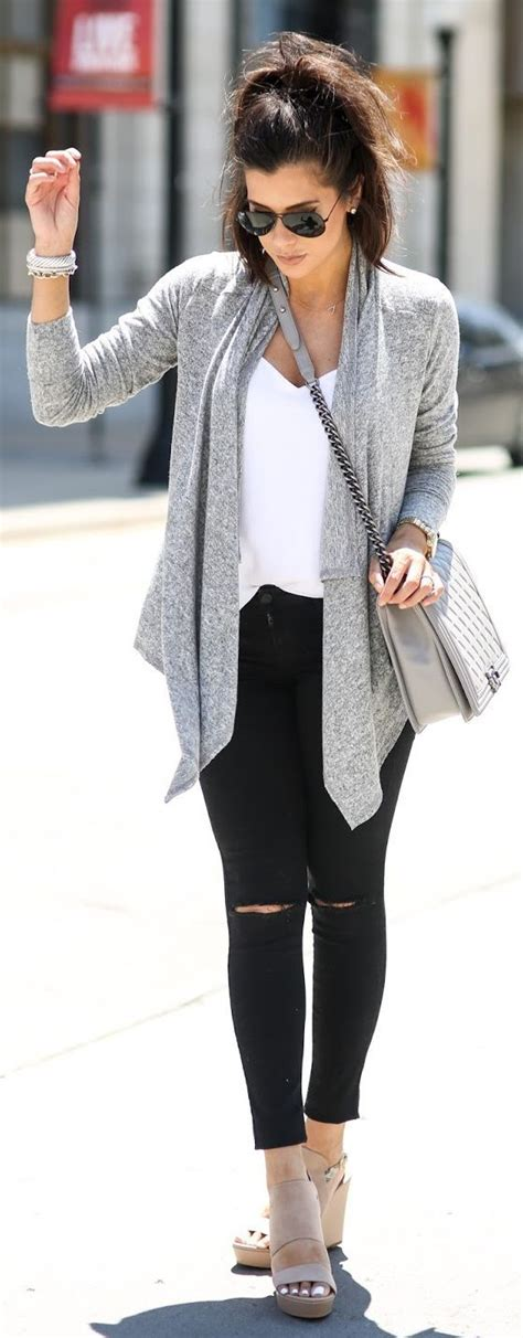 17 Best ideas about Gray Cardigan Outfits on Pinterest   Winter sweater outfits Teen fashion ...