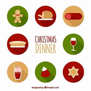 Christmas dinner icons Vector | Free Download