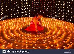 Divali Festival Indian Woman Burning Diya Decoration Stock
