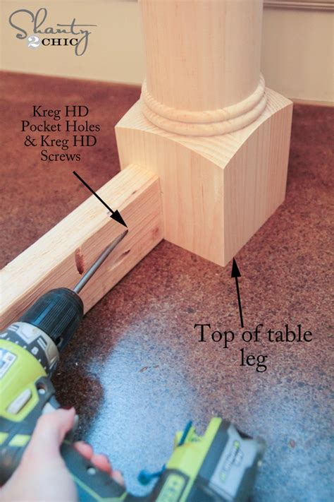 how to attach table top to legs diy dining table with turned legs shanty 2 chic