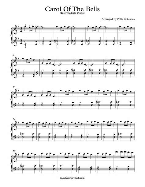 Free sheet music for piano. Intermediate Piano Arrangement Sheet Music - Carol Of The Bells(2) | Sheet music, Carol of the ...