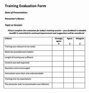 training evaluation form 17 download free documents in With employee training feedback form template