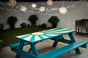 Diy Sunburst Painted Picnic Table