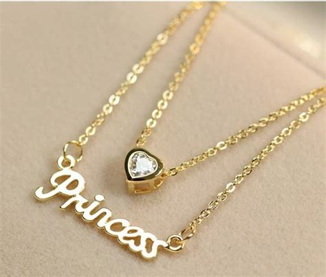 wholesale stylish letter love heart necklace gold yw