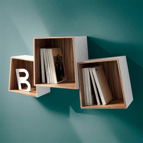 mensole di design set di 3 cubi mensola trapeziow in legno mdf bianco opaco