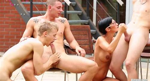 Bi Gang Fun In The Office #Group #Bisexual #Orgy #Outdoors #Near #The #House #With #A #Black