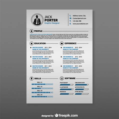 Curriculum Template Free by Curriculum Vitae Template Vector Free