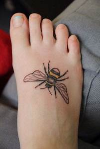 Picture Of Simple bee tattoo on the foot