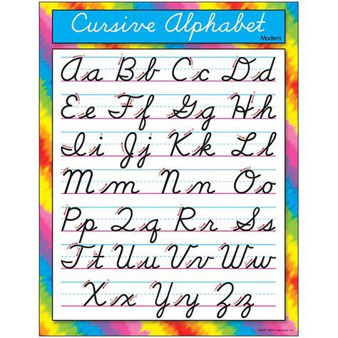 chart cursive alphabet modern   trend