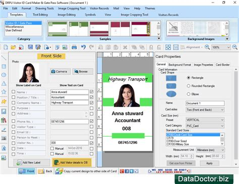 visitors id gate pass maker software designs visitor id cards