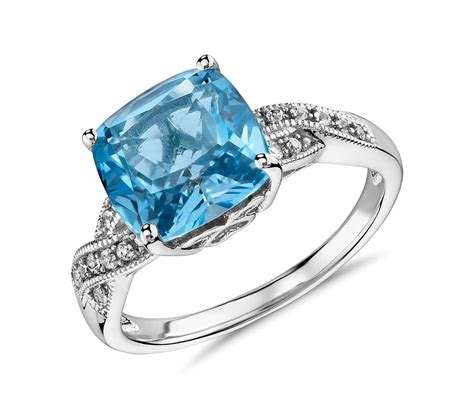 blue ring swiss blue topaz and white sapphire ring in sterling