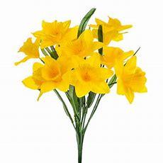 Artificial Silk Yellow Daffodil Bush  Decorative Easter Flowers Daffodils Prop Ebay