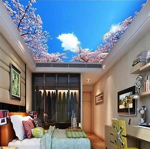 3D Wallpaper Mural sky clouds cherry Background Top ...
