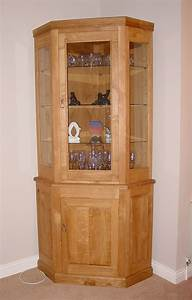 Oak & Glass Corner Display Cabinet