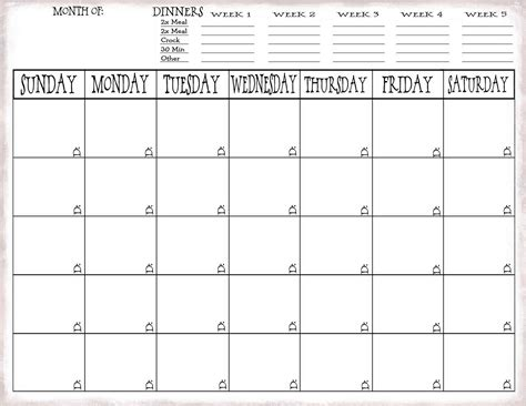meal planning calendar just sweet and simple more on meal planning