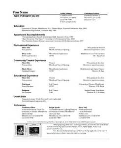 Technical Theatre Resume Exles by Theater Resume Template 6 Free Word Pdf Documents