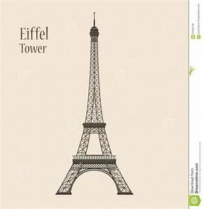 Eiffel Tower In Paris - Silhouette Vector Illustration ...