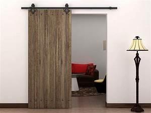 6 ft country style black barn wood steel sliding door for Barnwood pocket door