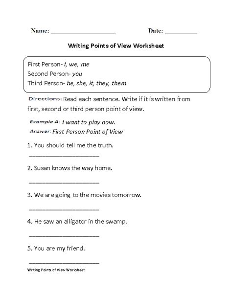 point  view worksheets writing points  view worksheet
