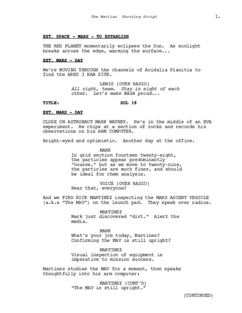 Film Senaryo Örnekleri : Marslı (The Martian Screenplay)