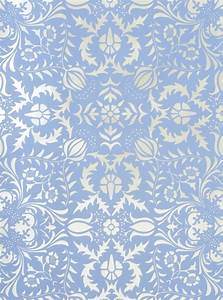 Dauphine Blue and Silver Damask Wallpaper - Little Crown ...
