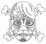 Coloring Skull Girly Crossbones Wenchkin Yuccaflatsnm sketch template