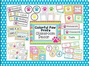 Neon Bright Paw Prints Classroom Basics Decor by Renee