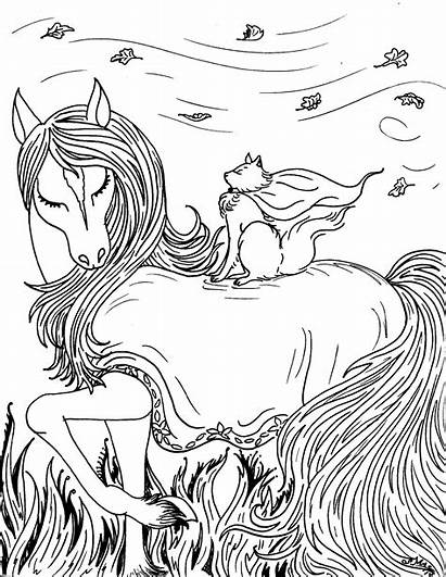 Coloring Fantasy Pages Horse Printable Pretty
