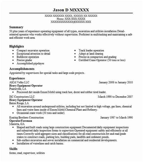 Heavy Equipment Operator Skills Resume by Best Heavy Equipment Operator Resume Exle Livecareer