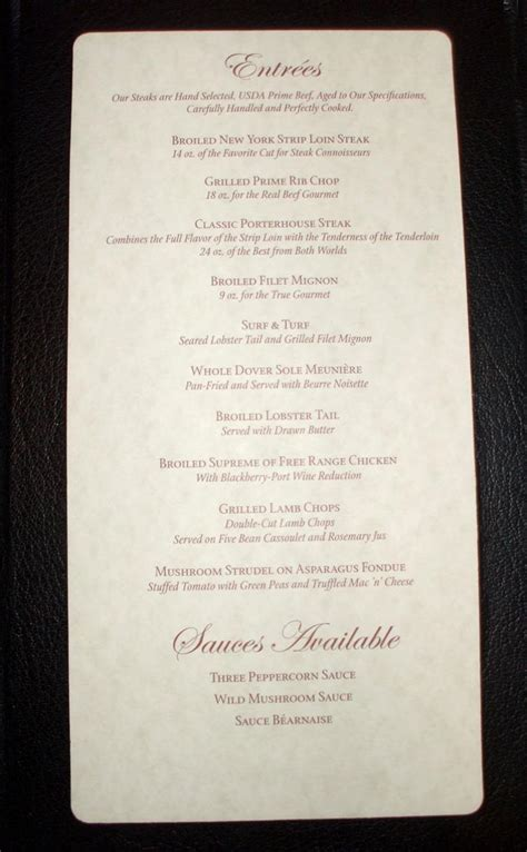 Carnival Conquest - Menu The Point Supper Club