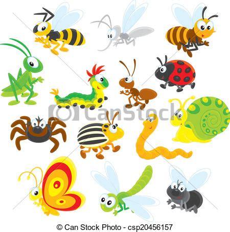 clipart vektor von insekten sammlungen von insekten