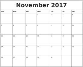 october 2017 word calendar
