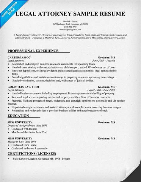 Resume Format Legal Resume Format Samples