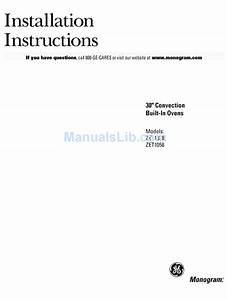 Ge Monogram Zet1038 Installation Instructions Manual Pdf