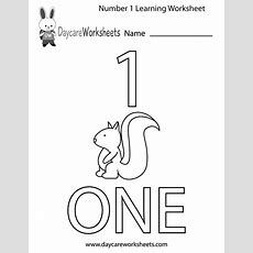 Free Preschool Number One Learning Worksheet