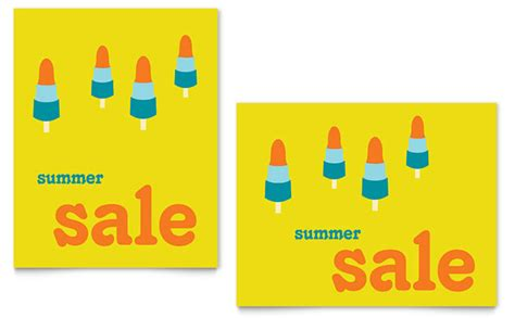 summer popsicles sale poster template design