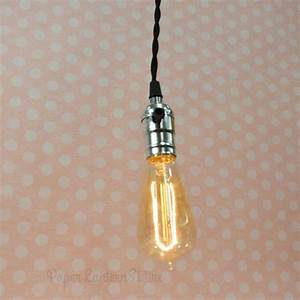 Single silver socket pendant light lamp cord kit w dimmer