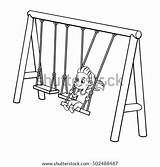 Illustration Vector Cartoon Playing Swing Playground Objects Drawn Isolated Hand Shutterstock Garden Background sketch template