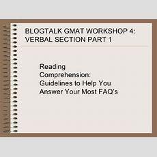 Blog Talk Gmat Verbal Workshop 1
