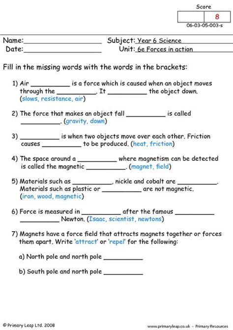 year 8 science worksheets forces different types of forces primaryleap co uk
