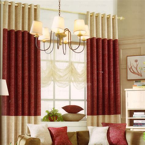 Red And Beige Stitching Modern Curtains 2016 New Arrival