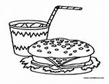 Lunch Soda Coloring Pages Hamburger Coke Pop Drinks Colormegood sketch template