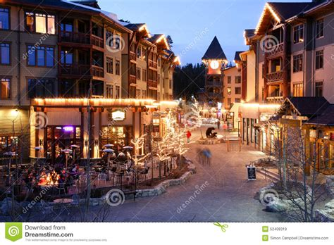 Alpine Village At Night, Mammoth Mountain, California
