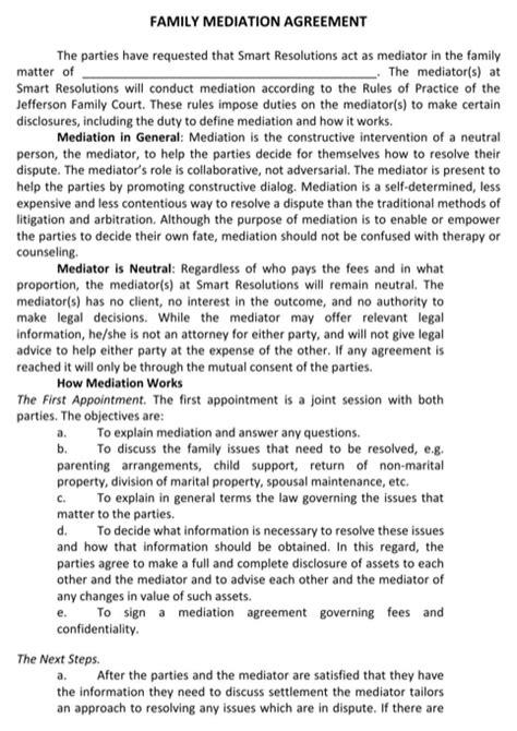 mediation agreement   formtemplate