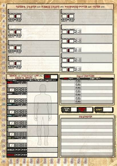 Character Sheet Second Edition A4 Ed Player
