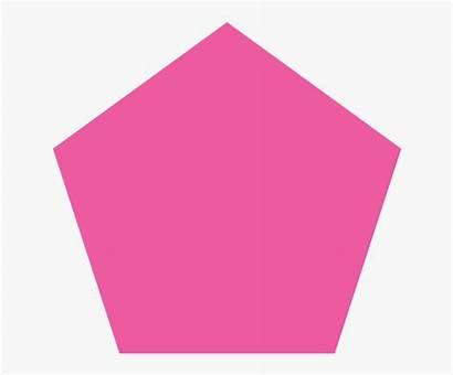Pentagon Shape Clipart Pink Line Geometric Cartoon