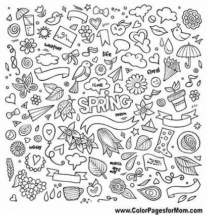 Spring Coloring Pages Doodles Doodle Hand Drawn