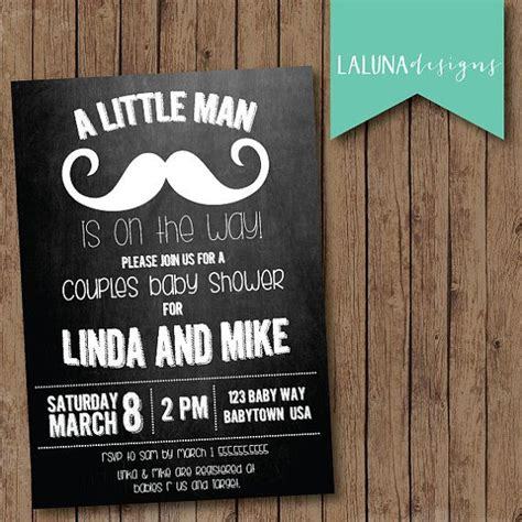 mustache baby shower invitation couples baby shower