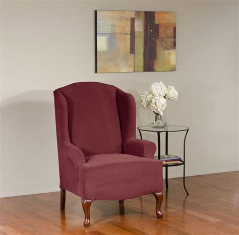 dimples merlot wing chair slipcover deeply embossed