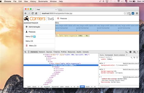 Css Div Scrollbar Style by Javascript Bootstrap Table In Div Horizontal Scroll Not